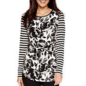 Worthington® Long-Sleeve Flocked T-Shirt - Petite
