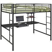 Pearson Full Loft Bed Over Workstation