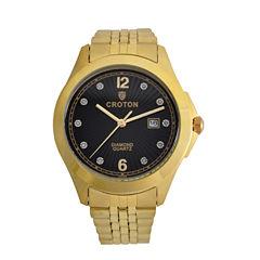 Croton Mens Gold Tone Bracelet Watch-Cn307562ylbd
