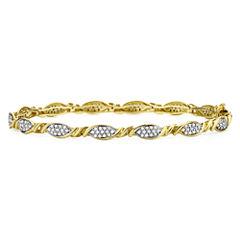 1 CT. T.W. Diamond 10K Yellow Gold Flower Bracelet