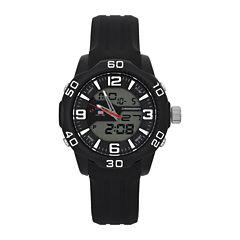 U.S. Polo Assn.® Mens Blue Rubber Stainless Steel Strap Anadigi Watch