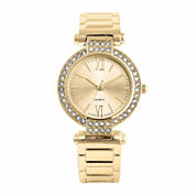 Womens Crystal-Accent Gold-Tone Cuff Bangle Watch