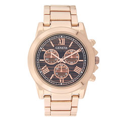 Geneva Womens Rose Gold-Tone and Wood Bracelet Watch