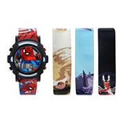 Kids Spiderman 4 pc Interchangeable Strap Watch Set