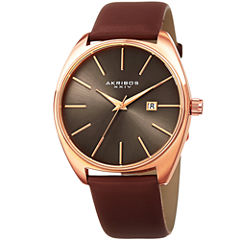 Akribos XXIV Mens Brown Strap Watch-A-945rgbr