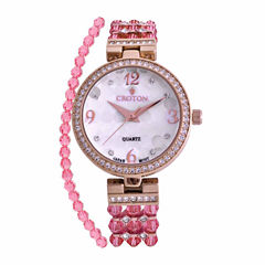 Croton Pink Swarovski Womens Pink 2-pc. Watch Boxed Set-Cn207563rgpk