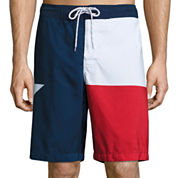 St. John's Bay® Patterned Microfiber Swim Shorts