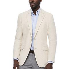 Stafford Linen Cotton Bone Herringbone Sport Coat-Slim