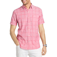 IZOD Short Sleeve Windowpane Chambray Button Front Shirt