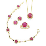 Lab-Created Ruby & Cubic Zirconia 4-pc. Jewelry Set