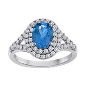 Genuine Blue Topaz and Lab-Created White Sapphire Double Halo Ring