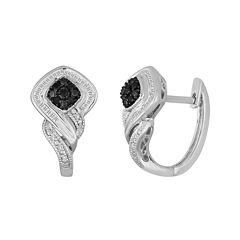 1/3 CT. T.W. White & Color-Enhanced Black Diamond Sterling Silver Earrings