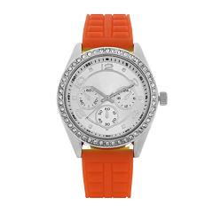 Womens Orange/Silver Strap Watch