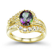 Genuine Mystic Topaz and Lab-Created White Sapphire Ring