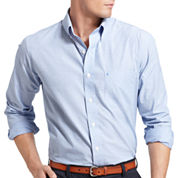 Izod Essential End on End Solid Long Sleeve Button-Front Shirt