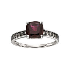 Sterling Silver Red Garnet & Smoky Quartz Ring