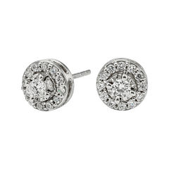 1/2 CT. T.W. Diamond 10K White Gold Round Framed Stud Earrings