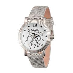 Sesame Street Womens Silver Tone Strap Watch-Wss000013