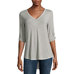Liz Claiborne Short Sleeve Stripe V Neck T-Shirt