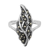Sparkle Allure Womens Gray Marcasite Stackable Ring