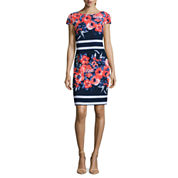 Alyx Short Sleeve Floral Stripe Sheath Dress