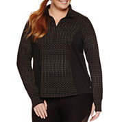 Xersion Long Sleeve Reflectve Half Zip T-Shirt-Plus