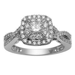 Hallmark Bridal Womens 1 CT. T.W. Round White Diamond 10K Gold Engagement Ring