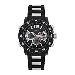 U.S. Polo Assn.® Mens Black Rubber Strap Sports Watch