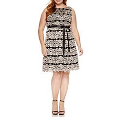 Jackie Jon Sleeveless Sequin Stripe Fit & Flare Dress-Plus