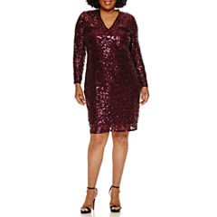 Blu Sage Long Sleeve Sequin Sheath Dress-Plus