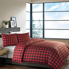 Eddie Bauer Reversible Mountain Plaid Scarlet Comforter Set