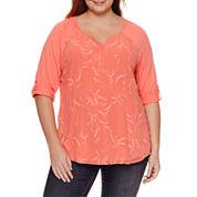St. John`s Bay 3/4 Sleeve T-Shirt-Plus