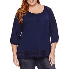 St. John's Bay 3/4 Sleeve Scoop Neck T-Shirt-Plus
