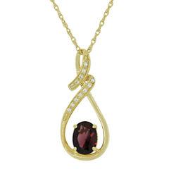 Genuine Garnet & Lab-Created White Sapphire Pendant Necklace