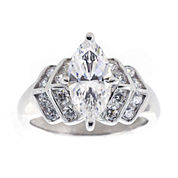 DiamonArt® Cubic Zirconia Sterling Silver Marquise Ring