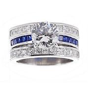 DiamonArt® Cubic Zirconia & Lab-Created Blue Sapphire Bridal Ring and Guard