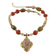 Art Smith by BARSE Multi-Stone Brass Pendant Necklace
