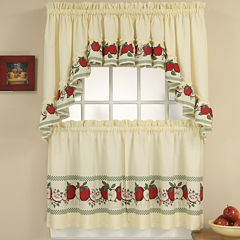 Red Delicious 3-pc. Rod-Pocket Kitchen Curtain Set