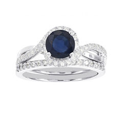 Blooming Bridal 1/2 CT. T.W. Diamond and Color-Enhanced Sapphire Ring