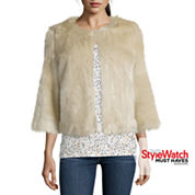 Stylus™ 3/4-Sleeve Faux-Fur Jacket
