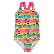 St. Tropez Girls Solid Cool Emoji One Piece Swimsuit