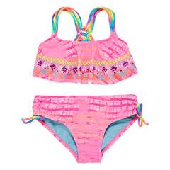 Breaking Waves Girls Solid Bikini Set - Big Kid