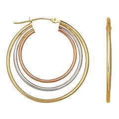 Tri-Color Hoop Earrings 14K Gold