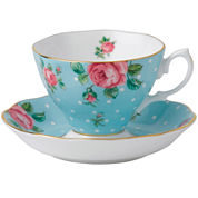 Royal Albert® Polka Blue Vintage Teacup and Saucer Set