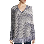 Love by Design Long-Sleeve Fringe-Trim Poncho