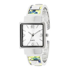 Womens Iridescent Snake Print Bangle Watch
