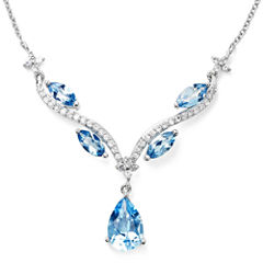 Genuine Blue Topaz & Lab-Created White Sapphire Y Necklace