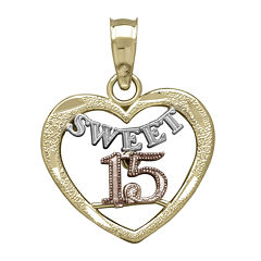 Tesoro™ 14K Tri-Color Gold Sweet 15 Quinceanera Heart Pendant