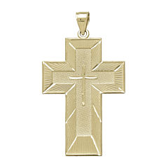 Tesoro™ Mens 14K Yellow Gold The Lord's Prayer Cross Pendant