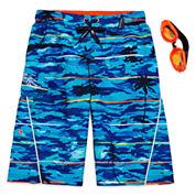 Zero Xposur® Palm-Tree Swim Trunks and Goggles Set - Boys 8-20